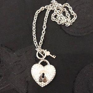 Rhinestone heart necklace with key